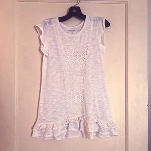 White Short Sleeved Tunic with Laced Front